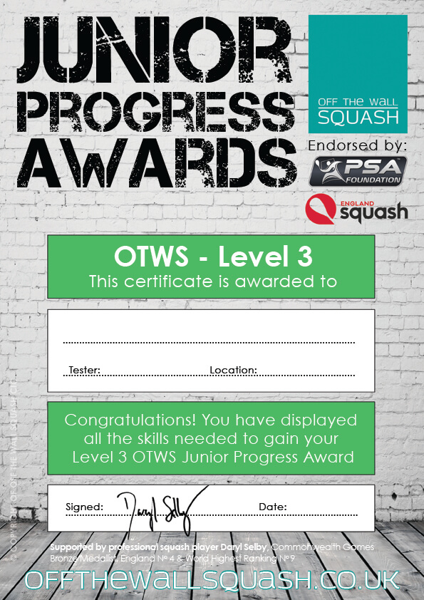 Off The Wall Squash - Junior Progress Awards - Certificates - Coaching Resources